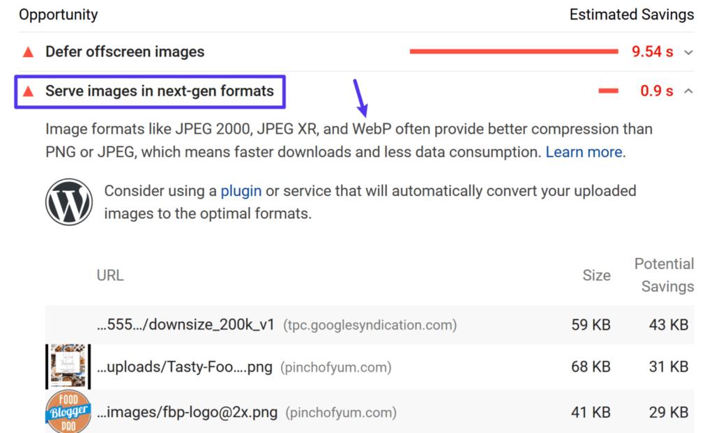 Google PageSpeed Insights предлага използването на WebP изображения